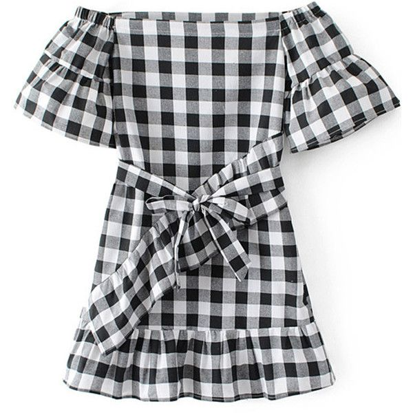 Black White Plaid Print Off Shoulder Ruffled Casual Dress 815 Uah Liked On Polyvore Featu Black And White Short Dresses Black N White Dress Featuring Dress