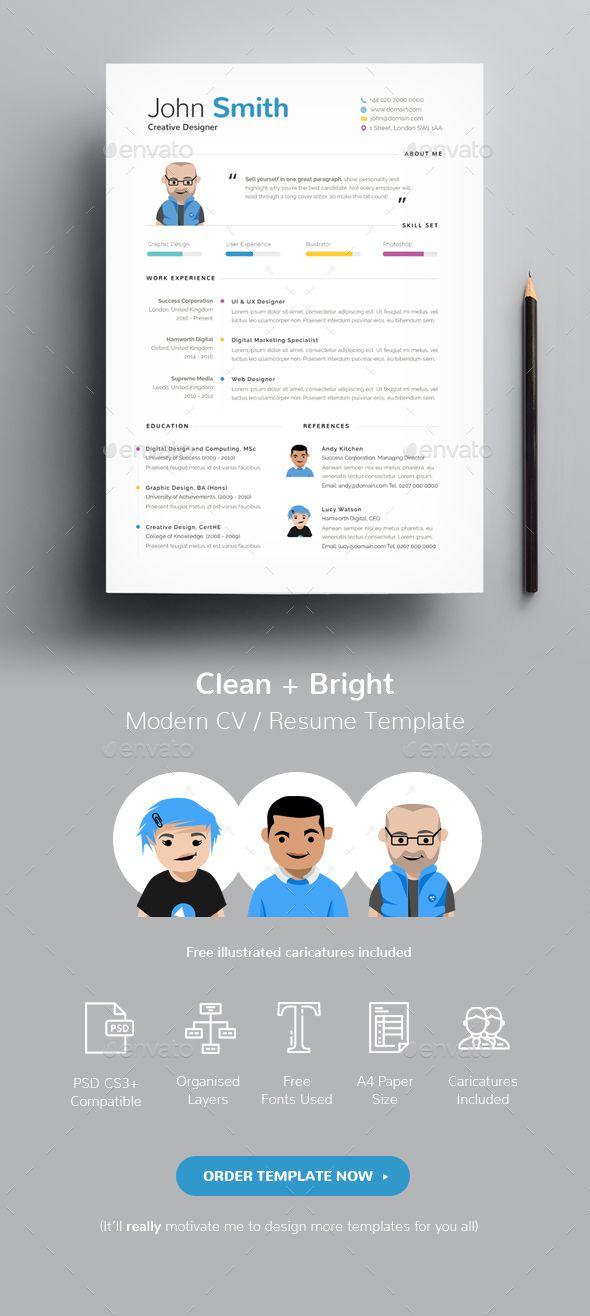 Clean  Bright CV / Resume Template Cv resume template, Template