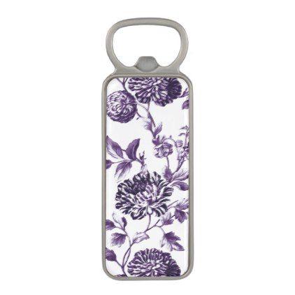 #vintage - #Mulberry Blue Vintage Botanical Floral Toile No.2 Magnetic Bottle Opener