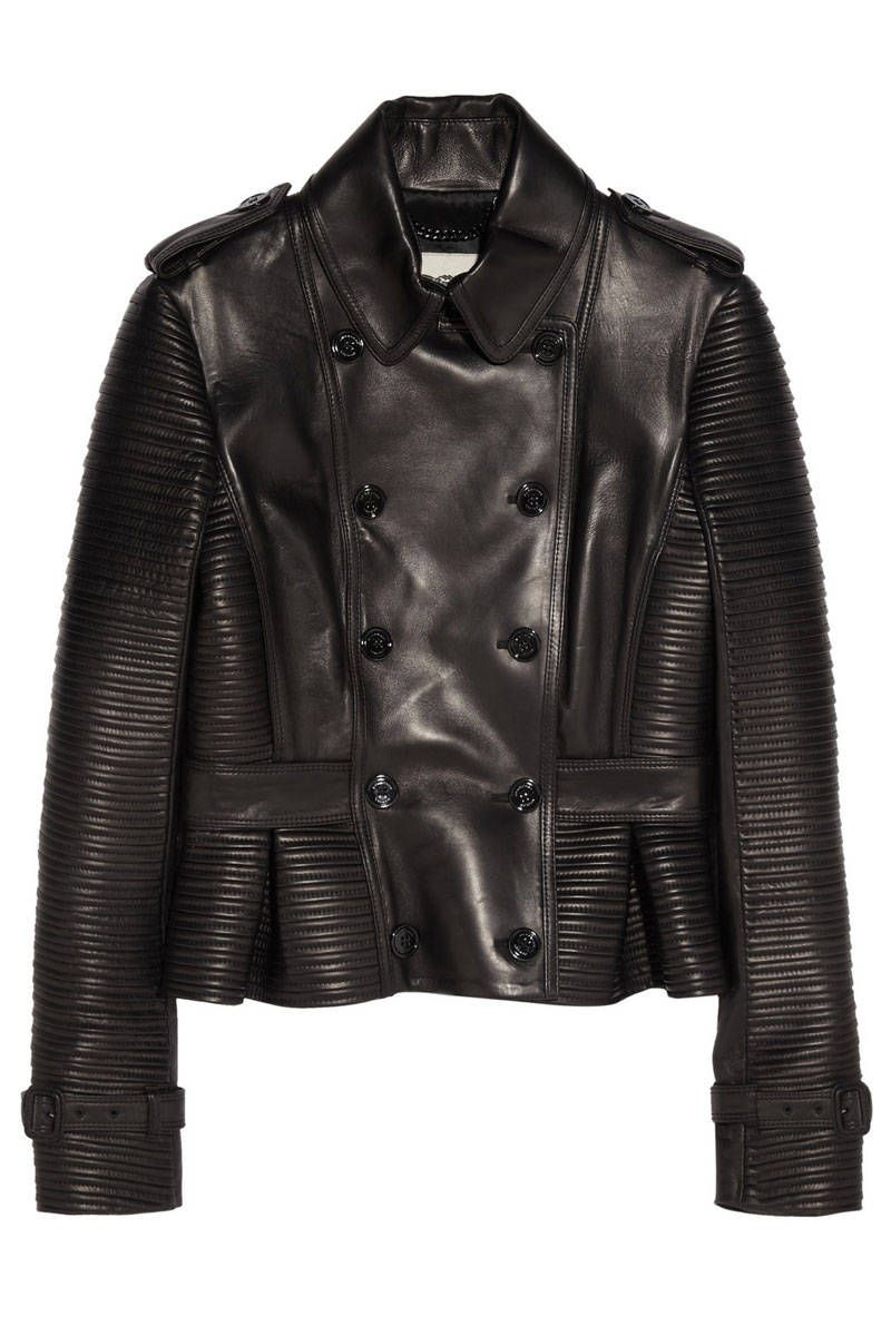 b887fa0645b4c You might never need to buy a new leather jacket again—this will have any  other standard black motorcycle number beat. Burberry London Leather Peplum  Jacket ...