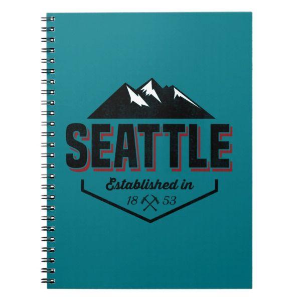 Seattle Established In 1953 Design Notebook Custom Office Supplies  #business #logo #branding
