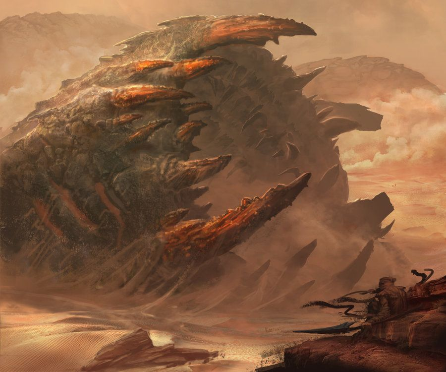 Desert toothed giant sandworm by Michal Matczak, ~Matchack on deviantART