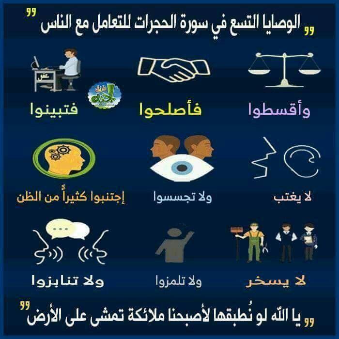 وصايا سورة الحجرات Quotes Texts Islam