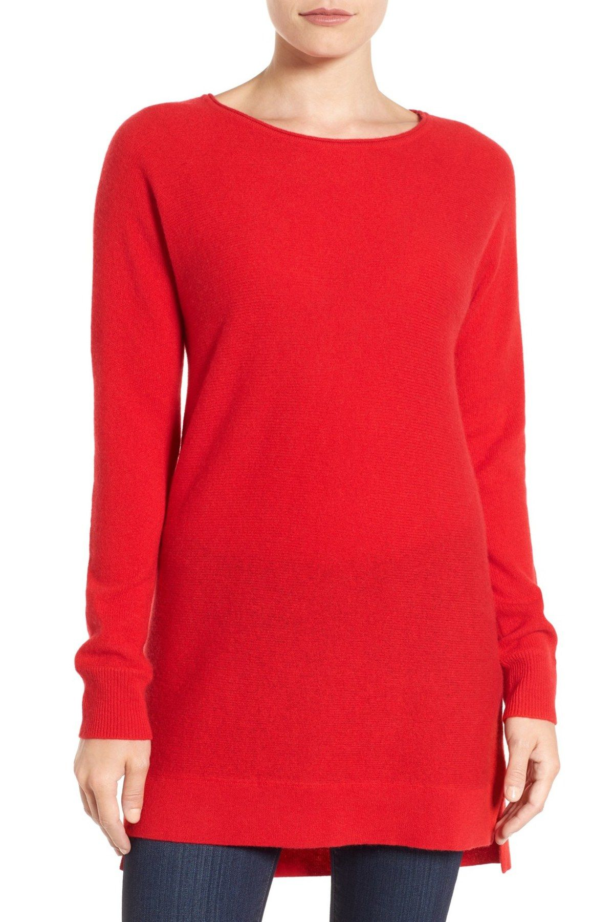 High/Low Wool & Cashmere Tunic Sweater (Regular & Petite)