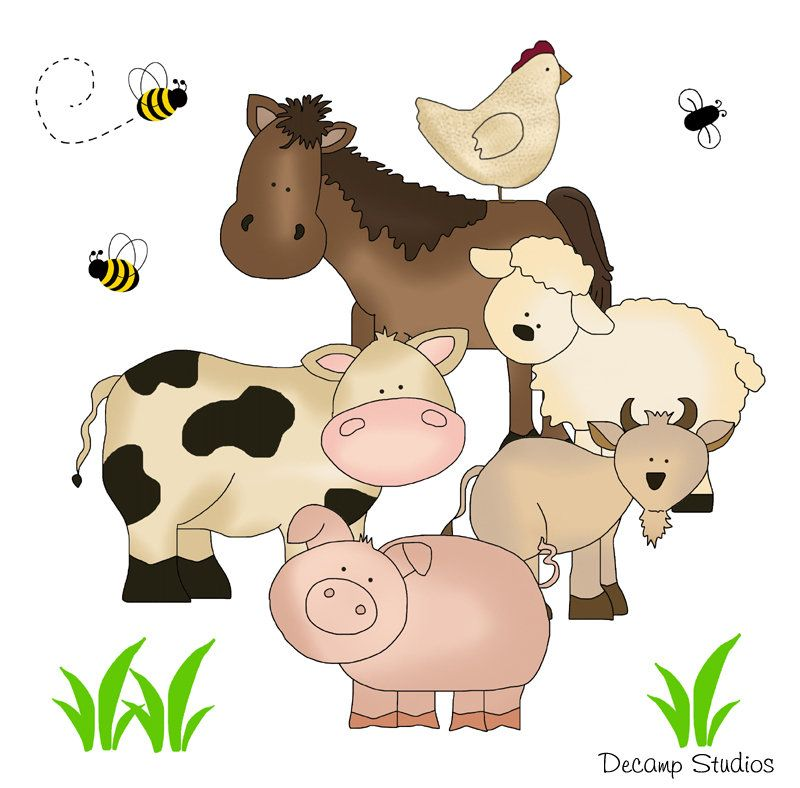 Farm Animals Decals Baby Nursery Wall Art Stickers Barnyard Mural Kids Room