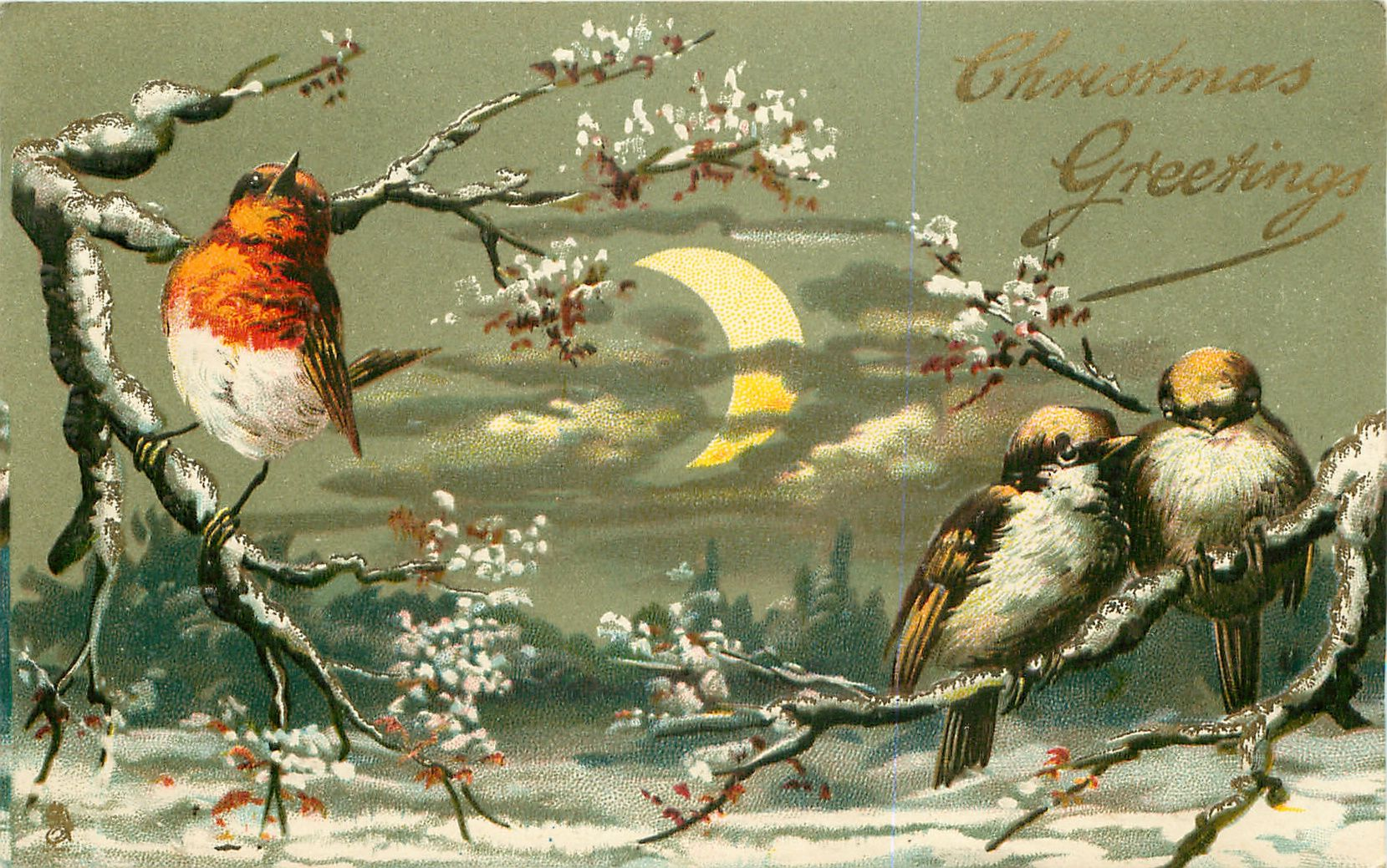Ретро открытки с птицами, букетом