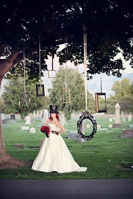 Halloween inspired wedding. How cool are these frames as a backdrop?