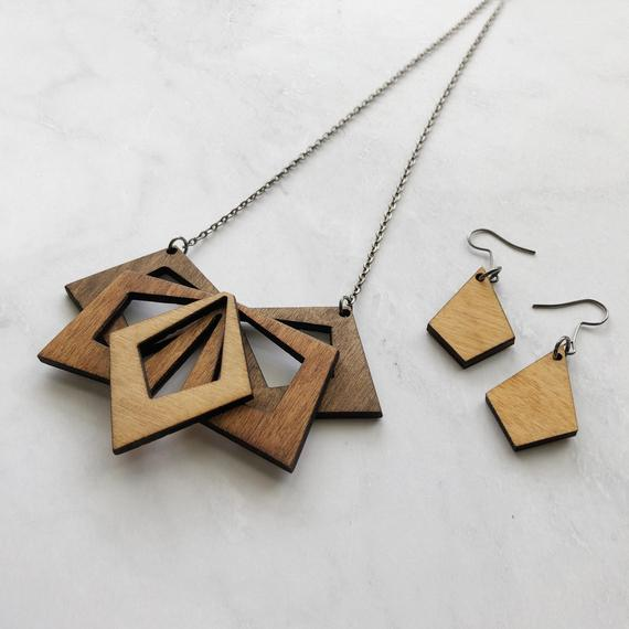 Pendant Necklace Silver Geometric Leather Set Leather Earrings Triangle Shape