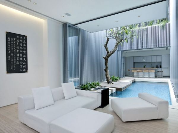 Indoor Pool Living Room A Light Open Plan Living Space Including
