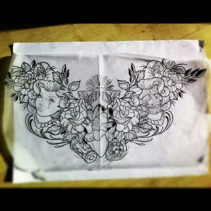 Neo Traditional Chest Piece Sketch