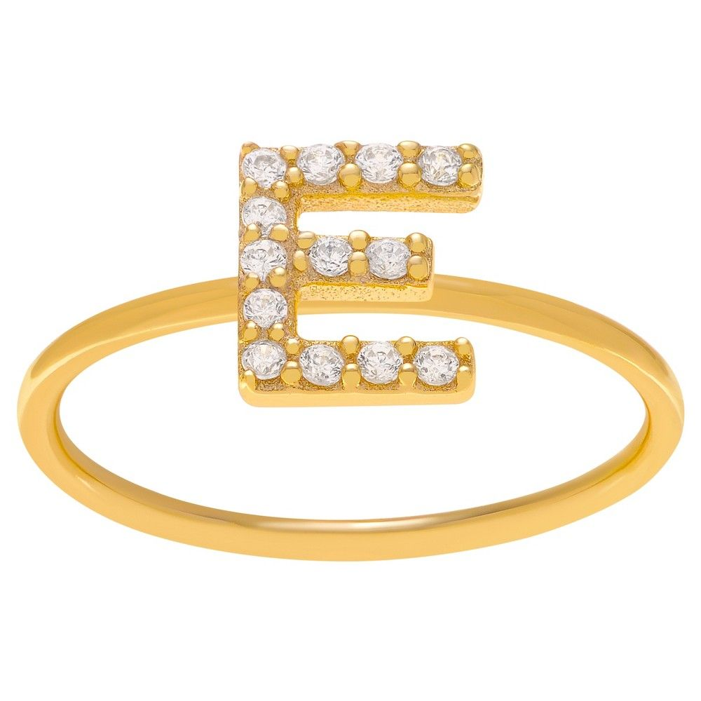 1/6 CT. T.W. Round-cut CZ Initial E Pave Set Ring in Sterling Silver - Gold, 10, Gold Letter E