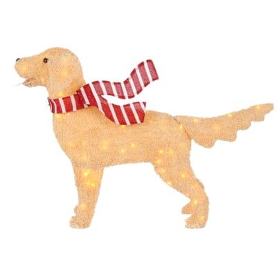 Home Accents Holiday 48in 120l Led Fuzzy Golden Retriever Ty574 1714 The Home Depot Golden Retriever Christmas Golden Retriever Home Accents