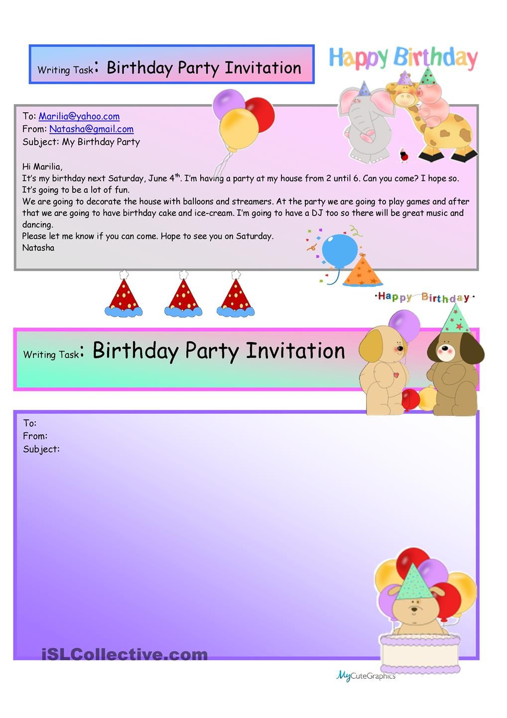 creative writing birthday party invite 16 a1 level grade 3 creative writing birthday party. Black Bedroom Furniture Sets. Home Design Ideas