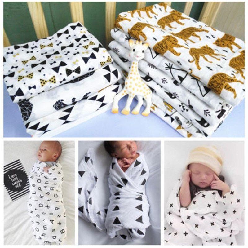 Soft Muslin Cotton Newborn Baby Swaddle Blanket Bath Towel Wrap Nursery Bedding