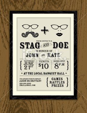 Vector illustration of an elegant stag and doe engagment party ...