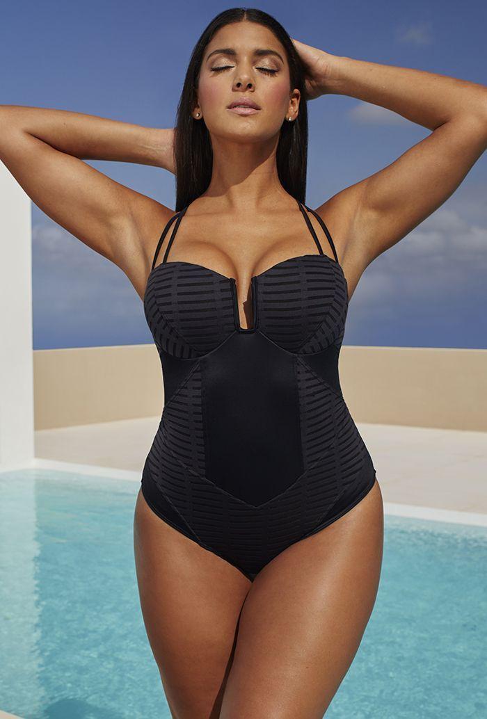 7e6164fc5cd Robyn Lawley Burnout Black X-Strap D DD Underwire Swimsuit