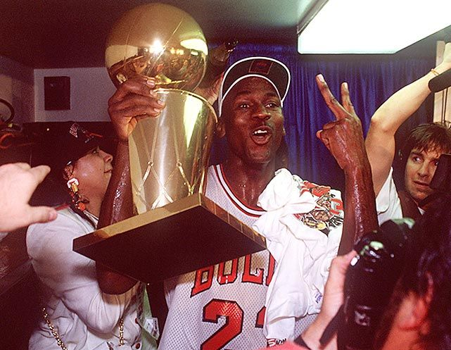 Michael Jordan Holds Championship Trophy No 2 After The Bulls Defeated Trail Blazers In Game Scored 33 Points And Won His Second Finals MVP