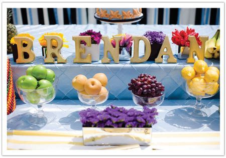 Fruit as accent colors on dessert table