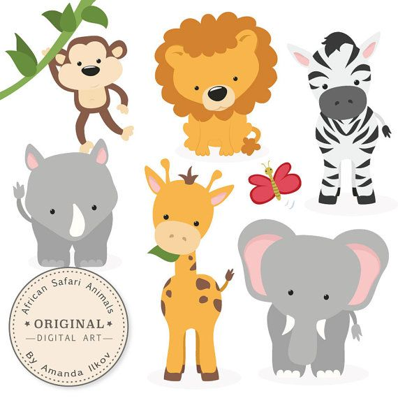 Premium African Safari Animals Clip Art & Vectors - Safari Animals ...