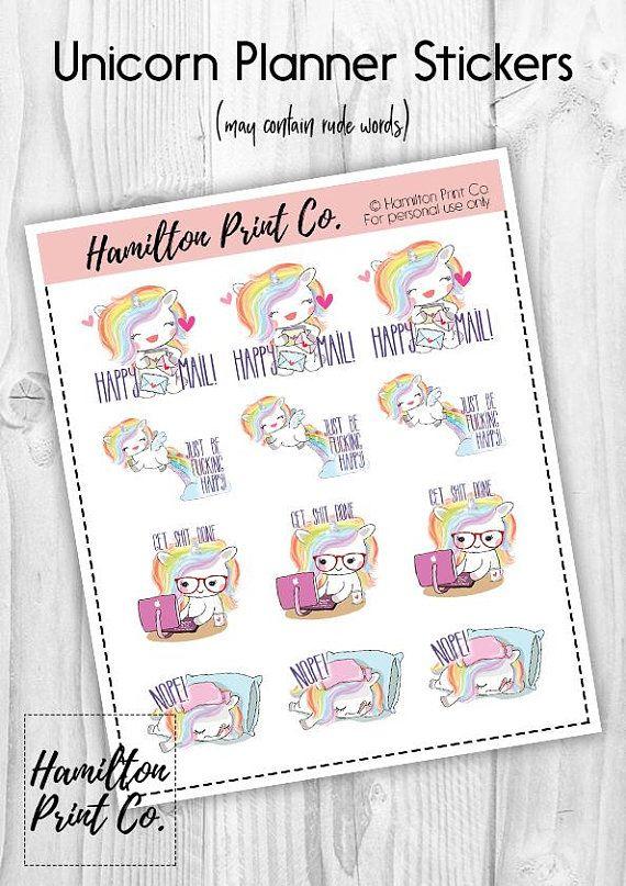 Kawaii rainbow unicorn stickers happy mail stickers planner hamilton print co pinterest unicorn stickers rainbow unicorn and happy mail
