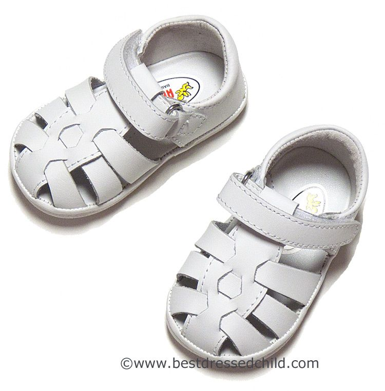 Angel Baby / Toddler Girls / Boys Leather Fisherman Sandals - Rubber Sole -WHITE