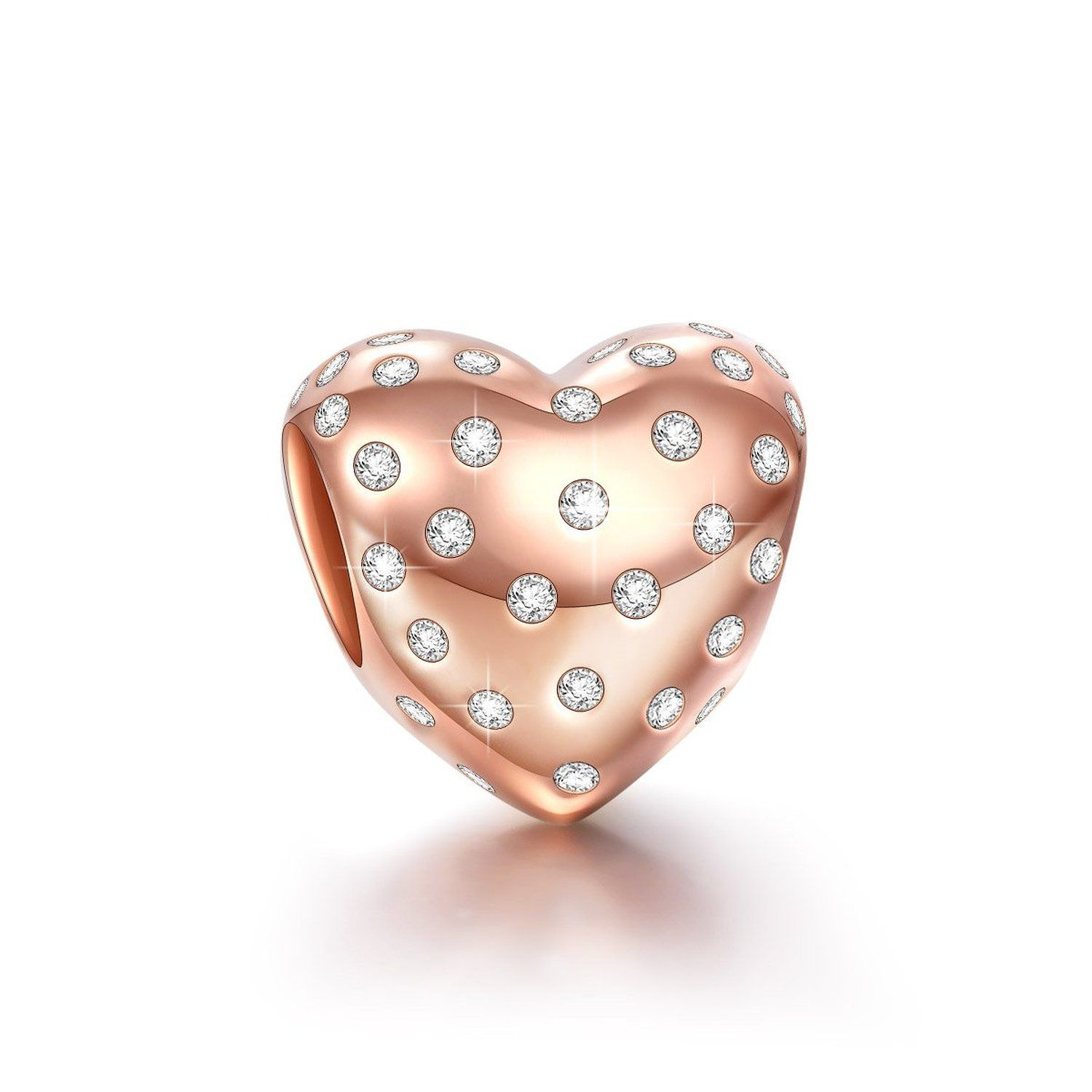Ninaqueen sterling silver hope heart rose gold plated cubic