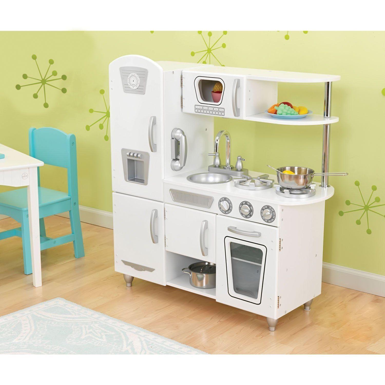 KidKraft White Vintage Kitchen With Steel Pans U0026 Accessory Set