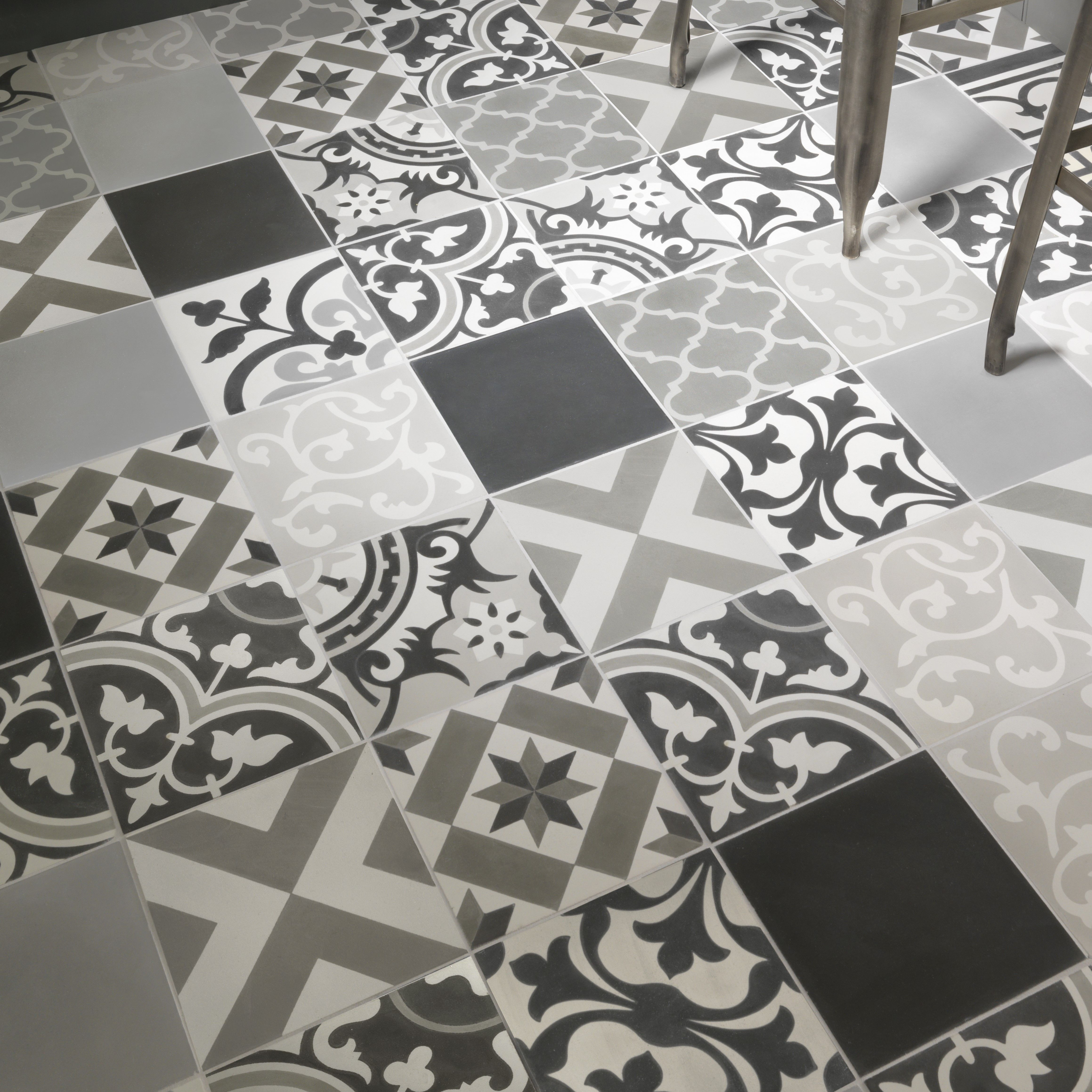 Ca Pietra Patchwork Grey Encaustic Edinburgh Tile Studio