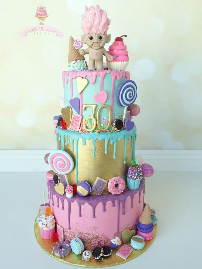 Colorful Chocolate Drip Candy And Sweets Themed Birthday Cake Cake