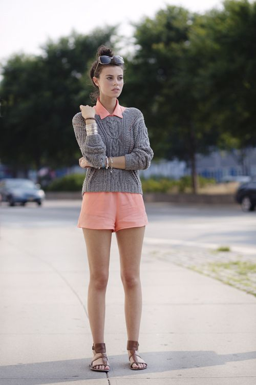 gray and coral, plus a sweater with shorts!