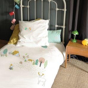 MIMI'lou Bettwäsche Kinderbettwäsche Wald mit Fuchs und