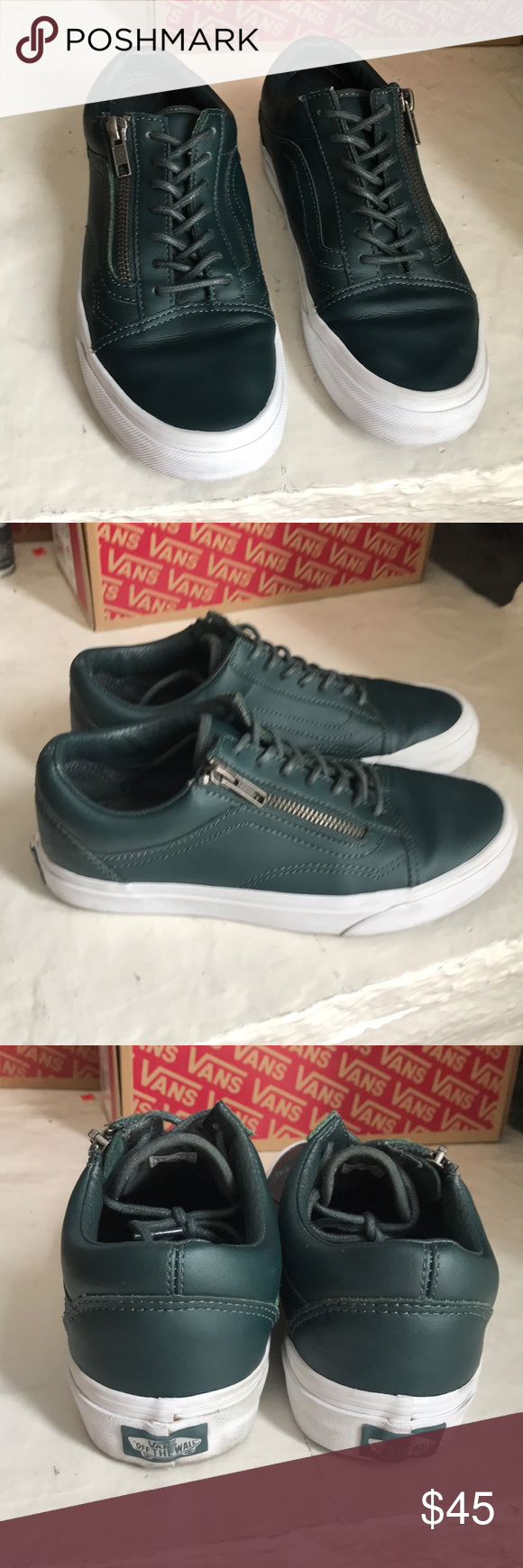 766028258a4a VANS OLD SKOOL ZIP Green leather Old Skool s with a zipper on the side.  Good condition