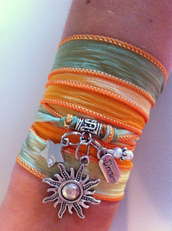 Sound of Sunshine  Asian Silk Yoga Wrap Bracelet by nikkisownworld, $20.00