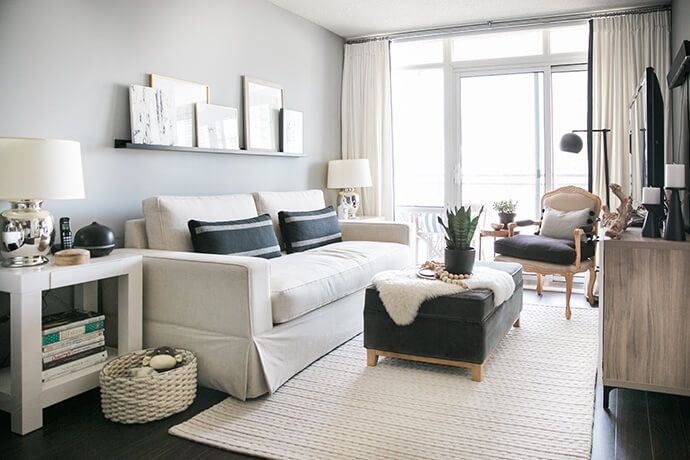 interior design for small living room photos yellow and grey rug a toronto condo packed with stylish space solutions home see how this based designer was able to fill her apartment