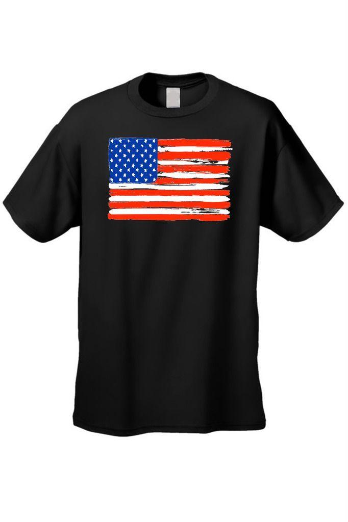 Men's T-Shirt USA Flag Painted American Stars Stripes Old Glory Vet Tee Patriotic