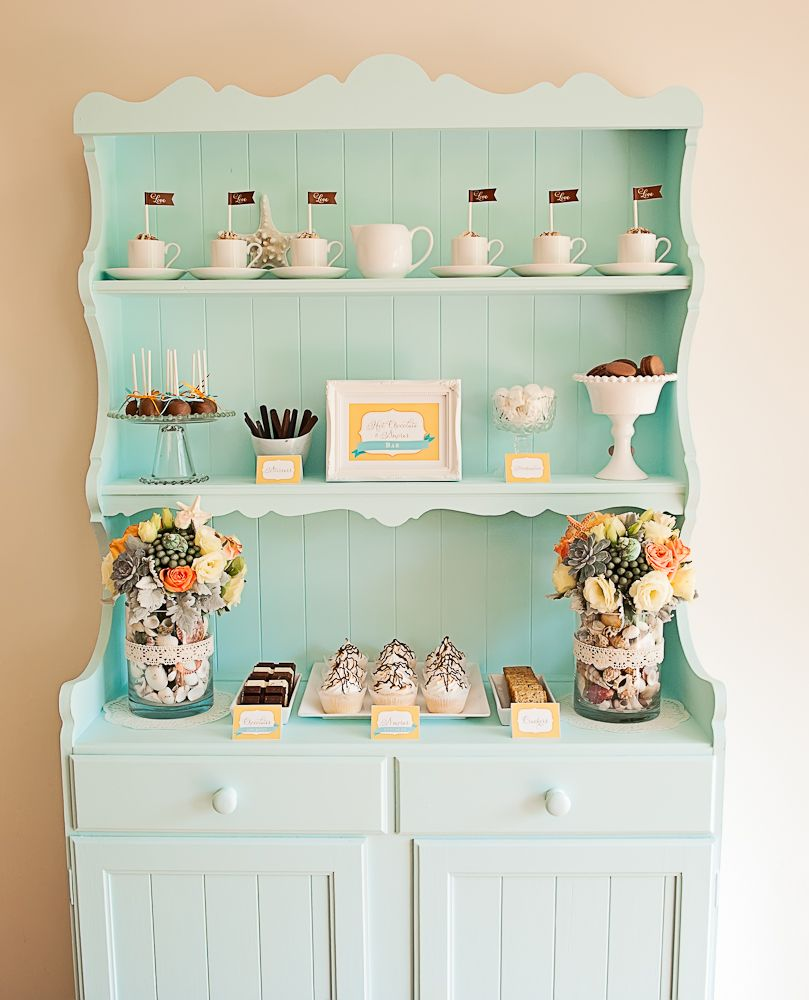 Vintage hutch for dessert bar