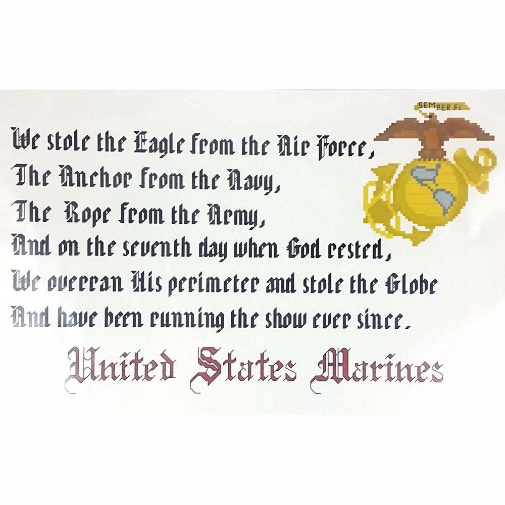 United States Marine Counted Cross Stitch Pattern 14 x 8 Military X Stitch c2341 #MilitaryXStitch #Sampler