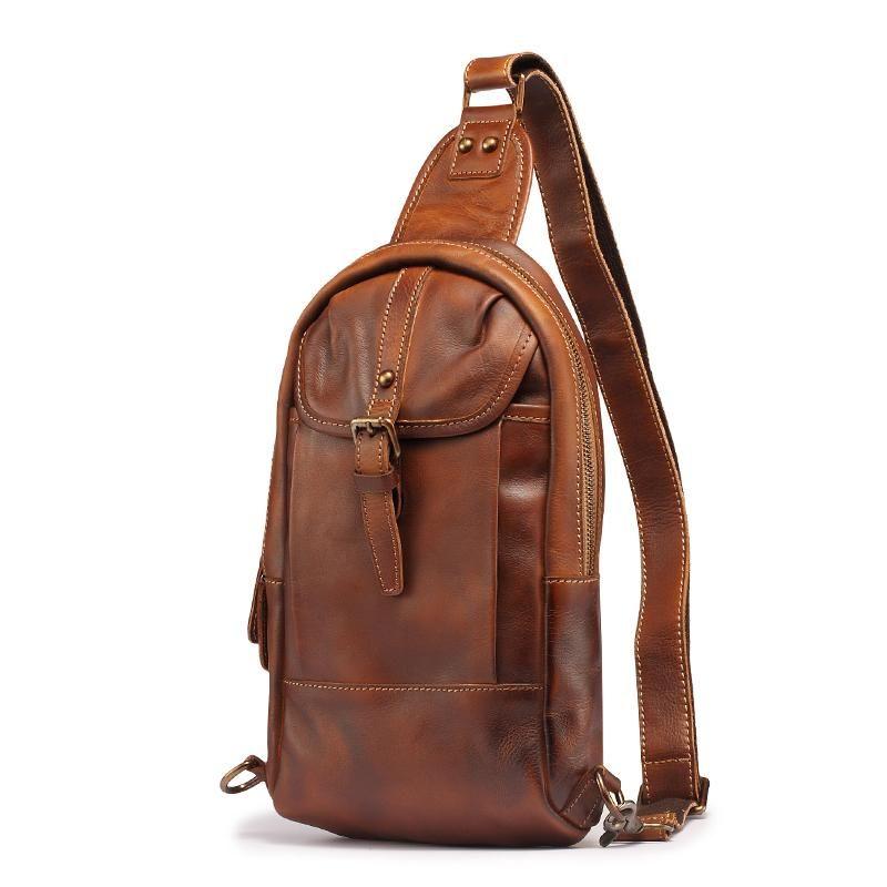 18021ae728 Leather Mens Sling Bag Sling Shoulder Bag Sling Backpack for men –  iwalletsmen