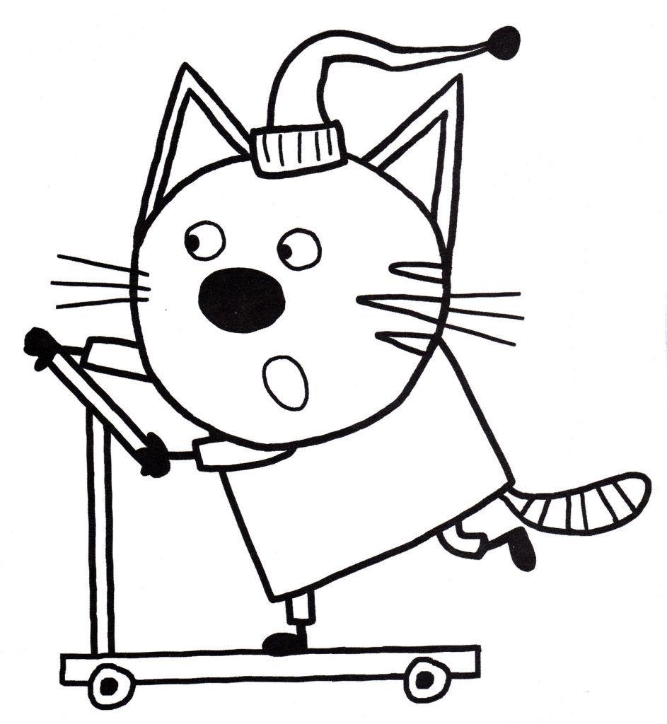 раскраски из мультфильма три кота для детей компот учится