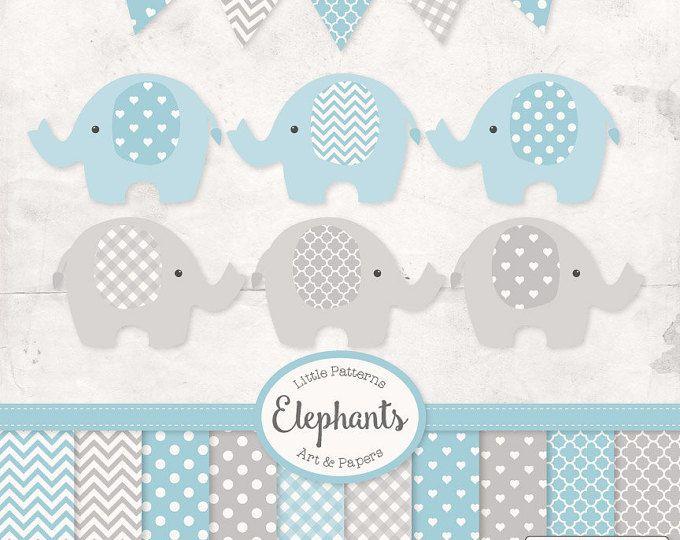 Premium Elephant Clipart, Vectors & Digital Papers in Soft Blue with Grey - Soft Blue Elephant Clip Art, Elephant Vectors, Baby Elephants