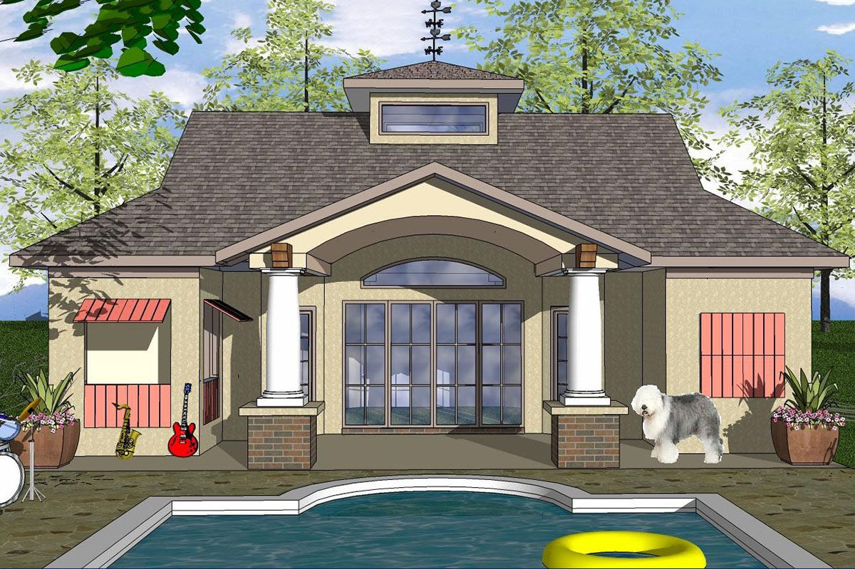 Plan 530026ukd 1 Bedroom Tiny Home Plan With Large Covered Porch In 2021 Craftsman Style House Plans Cottage Style House Plans Pool House Plans