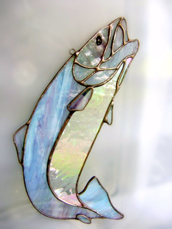 Fish Trout Stained Glass Suncatcher Home Cabin Fishing Fathers Day Christmas Gifts Housewarming