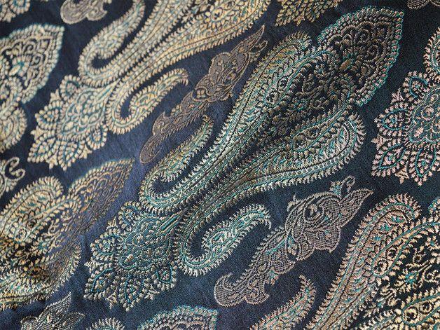 Brocade Fabric, Indian brocade, Banaras silk, Silk Brocade Fabric. This is a beautiful pure heavy benarse silk brocade floral design fabric in black, green and gold. The fabric illustrate golden...