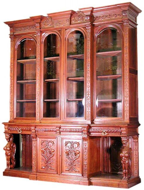 Spectacular antique 19th C. carved Breakfront Horner Brothers ...