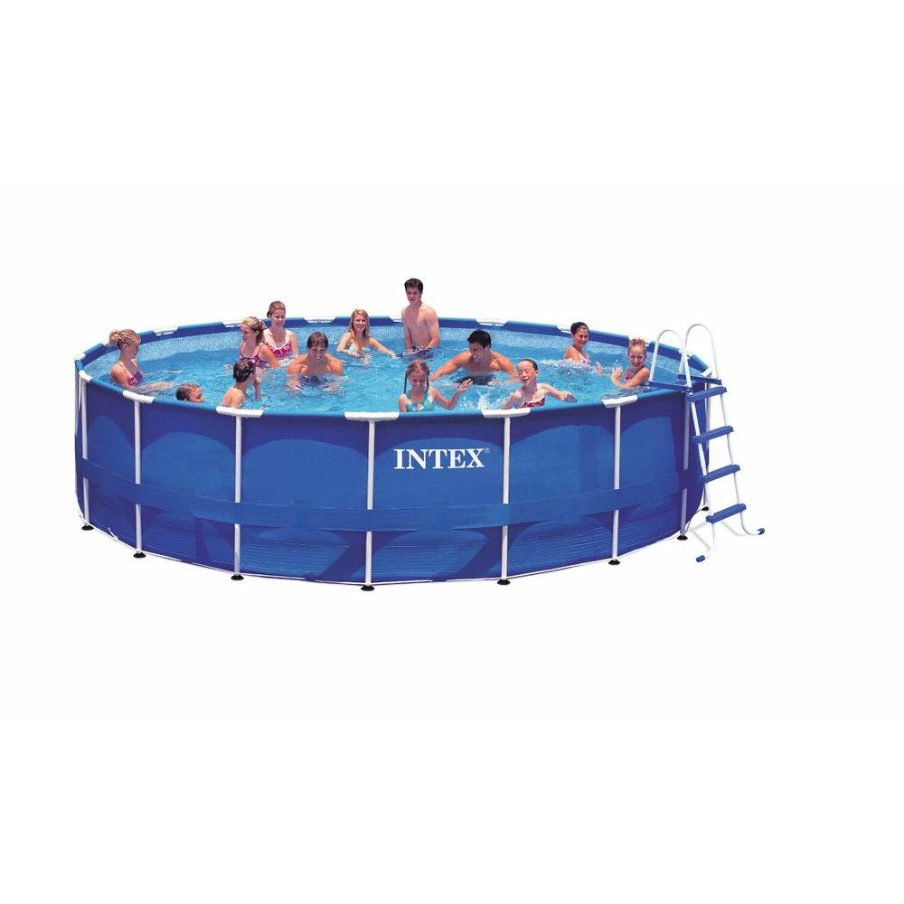 18 ft. x 48 in. Above Ground Round Metal Frame Pool Set, Blue   Easy ...
