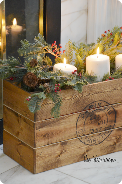 build your own vintage christmas crate theidearoomnet - Decorating Crates For Christmas