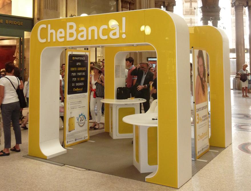 Che Banca! stand | Promo stands | Bank branch, Landline
