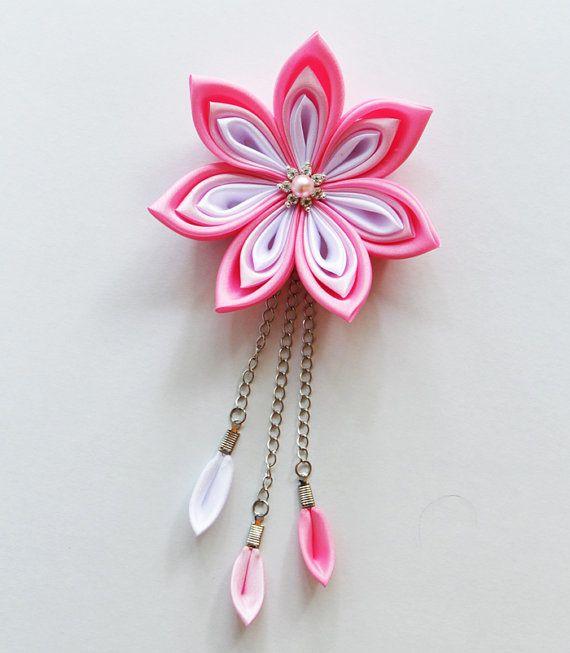 Kanzashi flower hair clip - Wedding hair accessories - Pink hair accessories