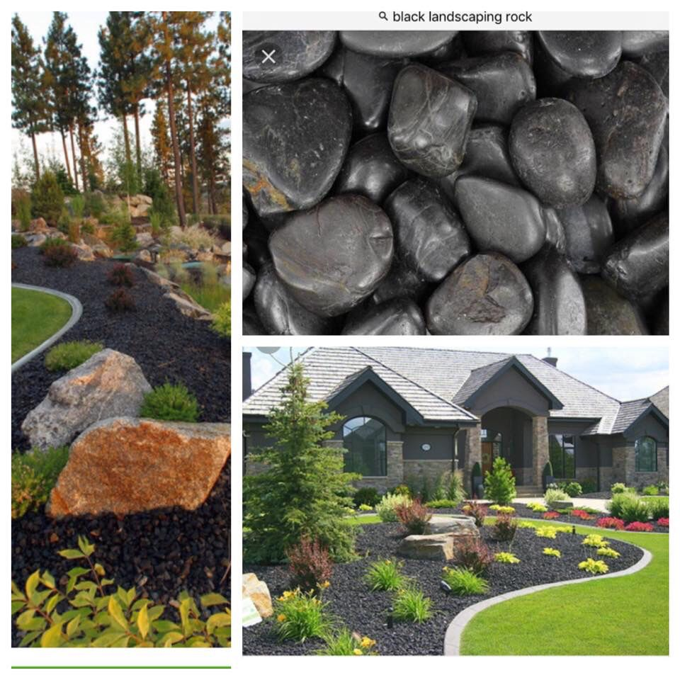 Black Landscaping Rocks Instead Of Mulch For Front Of House