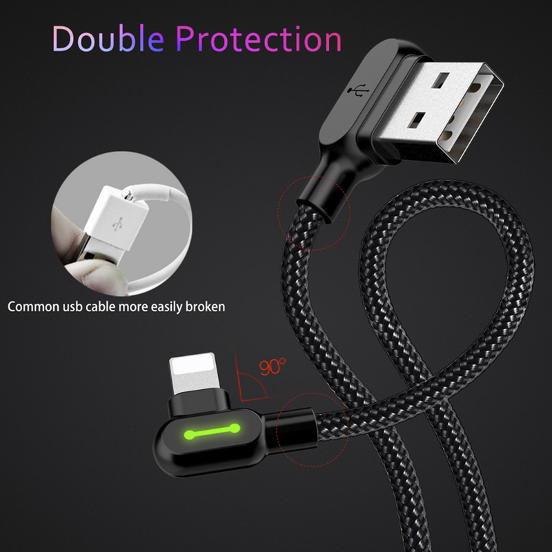 Mcdodo Right Angle Game Cable Sync Charging Data Usb Led Cord Iphone Type C Iphone Cable Charging Cable Cable